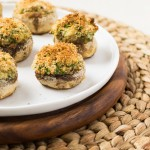 Spinach and Cream Cheese Stuffed Mushrooms Baked Horizontal