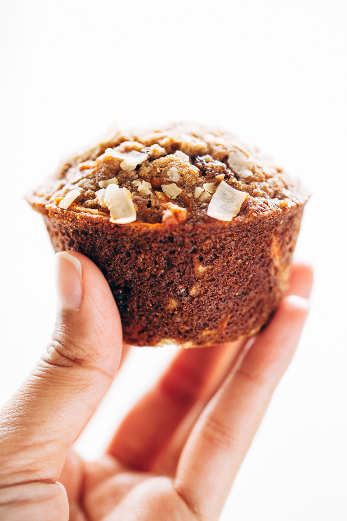 Super Moist and Healthy Carrot Cake Muffins - Made with less sugar than traditional muffins and packed with greek yogurt and apple sauce so there isn't a dry crumb in sight! #carrotcake #carrotcakemuffins #muffins #healthy   Littlespicejar.com