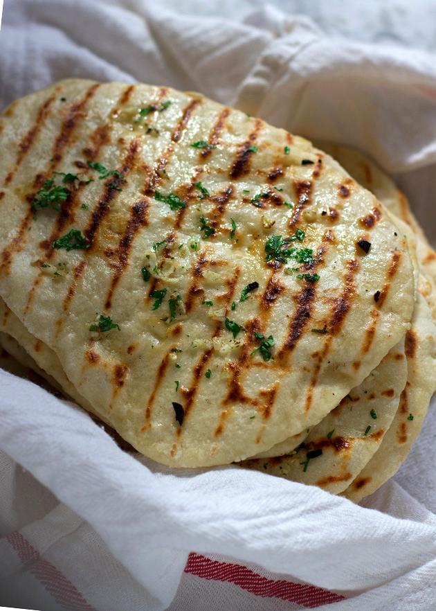 2 Ingredient Naan Flatbread (And Garlic Naan too!)