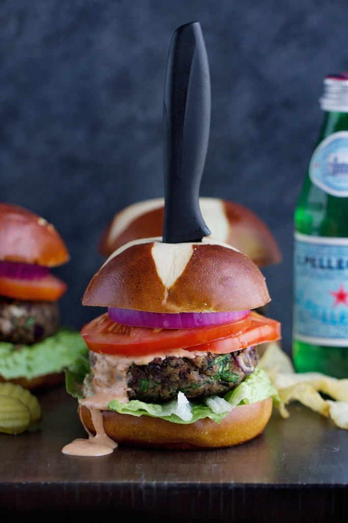 Black Bean Mushroom Burgers with Chipotle Mayo Recipe | Little Spice ...