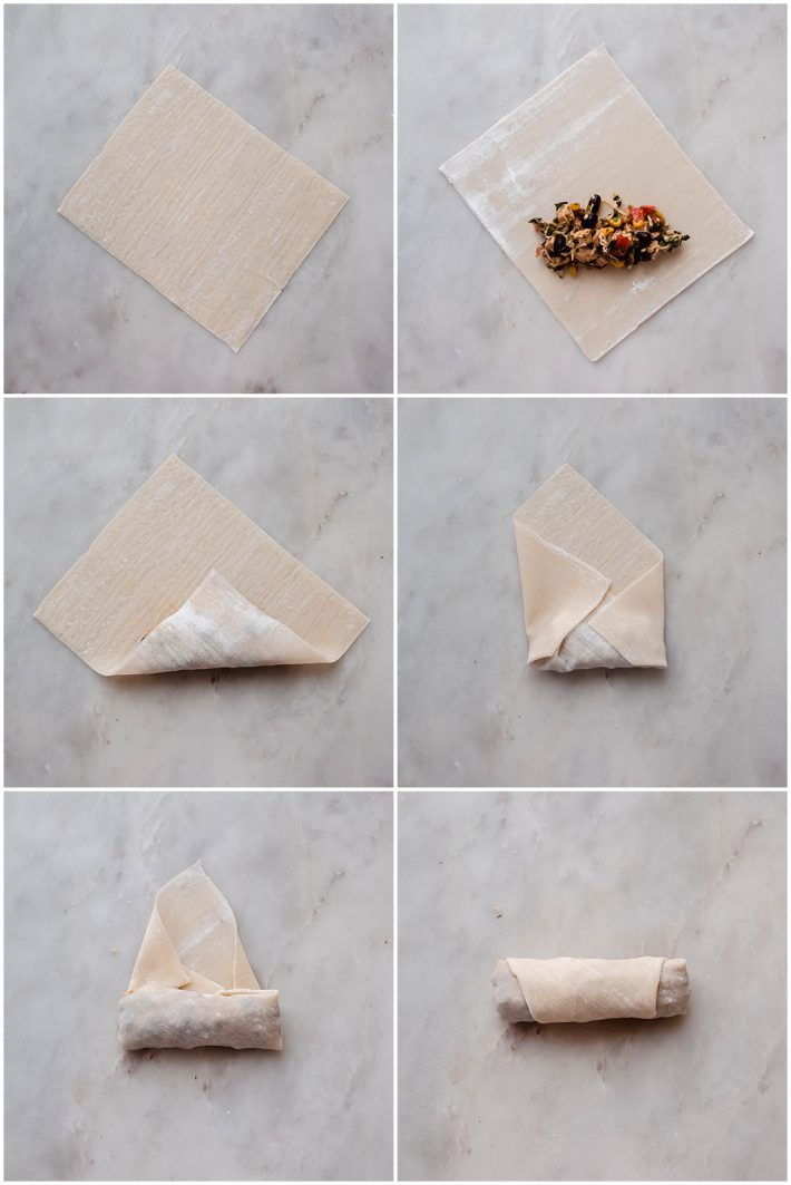 step by step on how to roll an egg roll