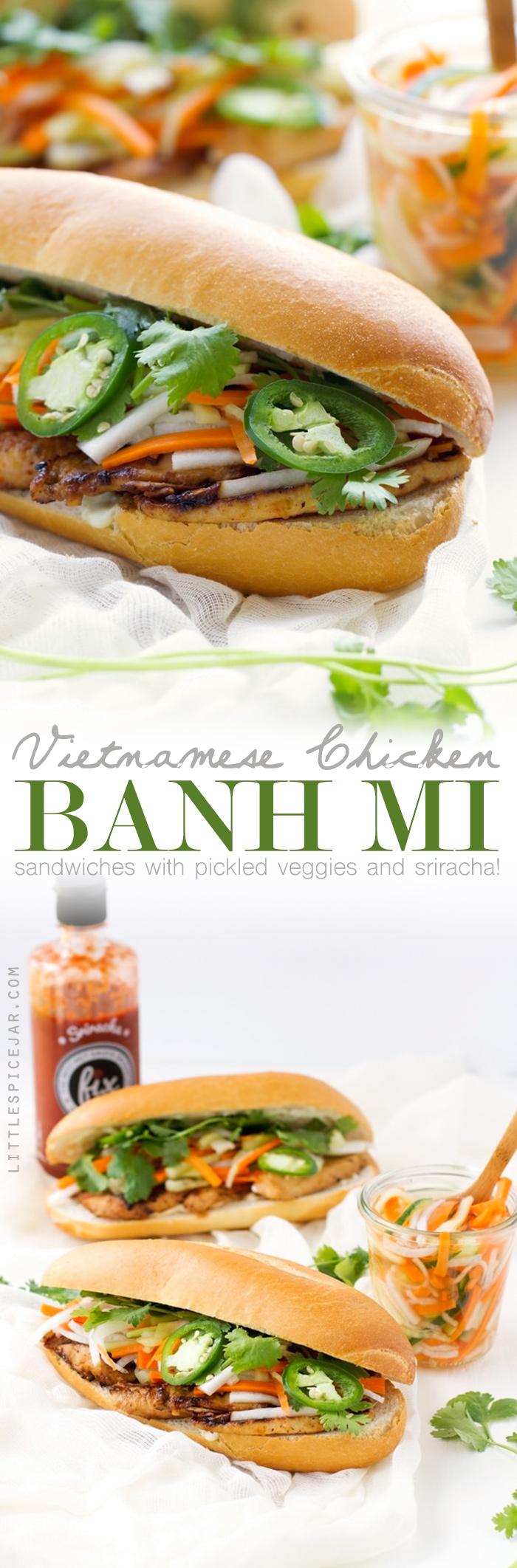 Vietnamese Chicken Sandwich (Banh Mi) - Learn how to make restaurant style BANH MI sandwiches at home! #banhmi #vietnamesesandwich #banhmisandwiches   Littlespicejar.com
