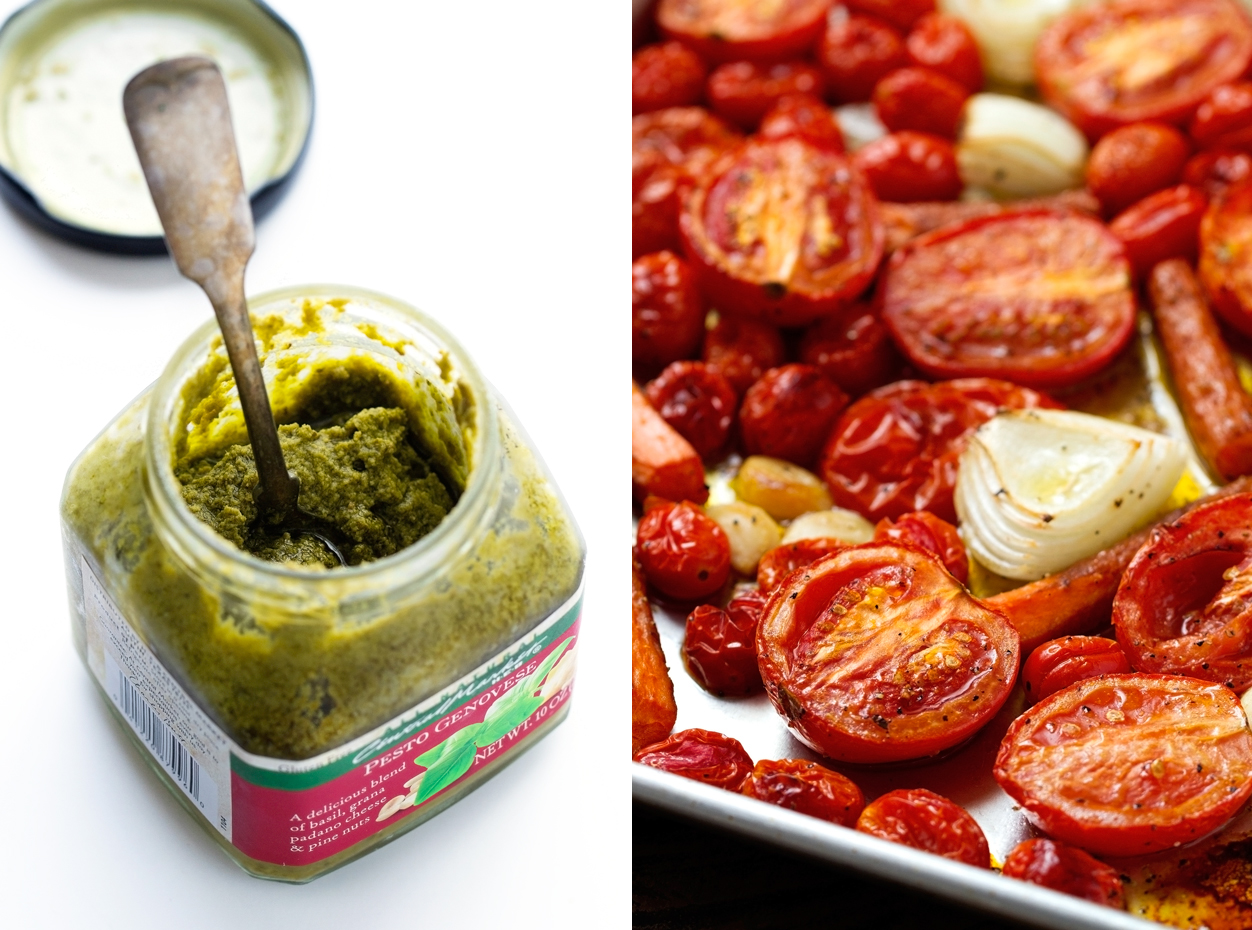 picture collage of basil pesto on one side and roasted veggies on the other side