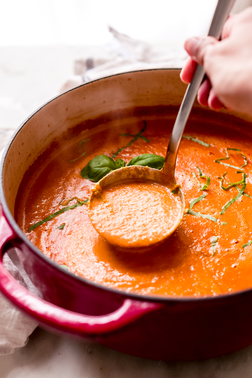 steaming pot of tomato basil soup with a hand lifting a ladleful
