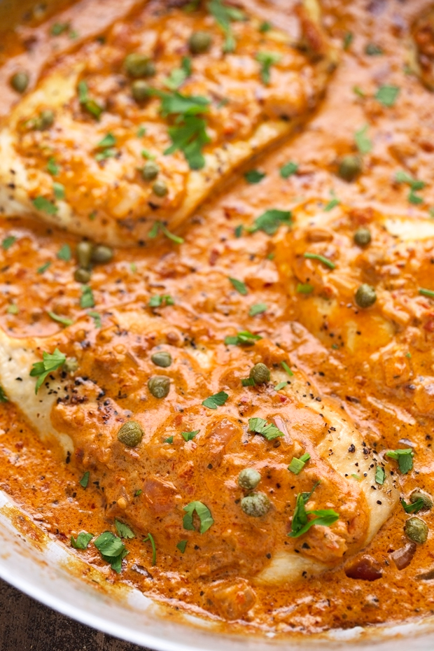 One Skillet Chicken with Tomato Basil Cream Sauce