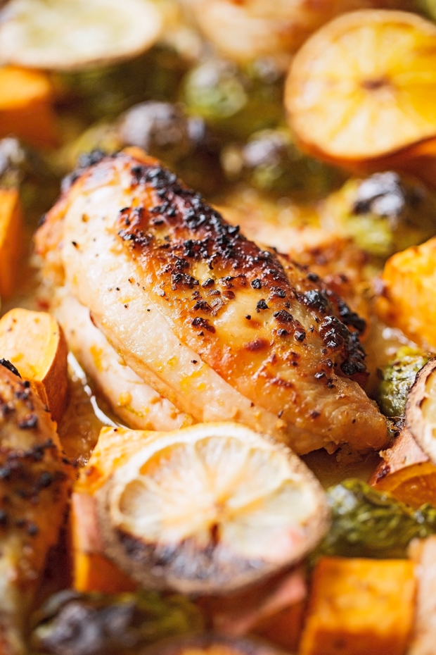 One Sheet Pan Garlic and Citrus Chicken with Brussel Sprouts and Sweet Potatoes