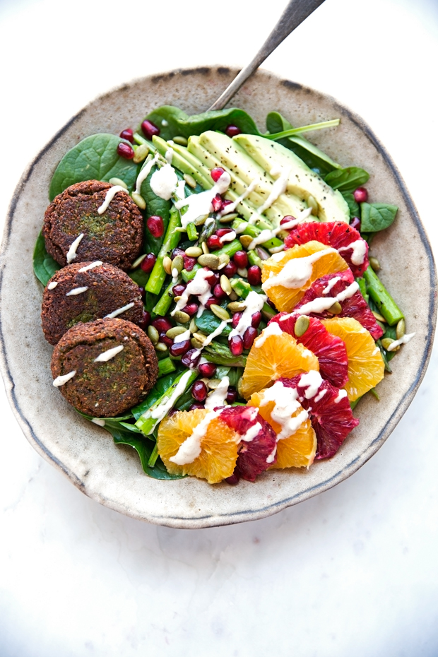 Falafel Veggie Bowls with Tahini Dressing - Superfood loaded salads with creamy tahini and homemade falafels! #tahinidressing #veggiebowls #falafel | Littlespicejar.com