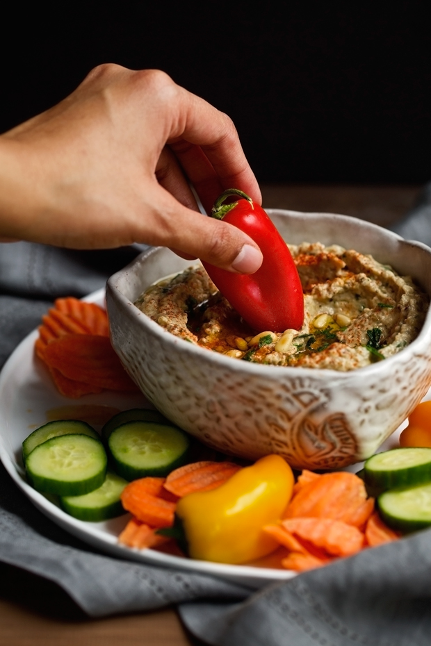 Homemade Baba Ganoush - simple ingredients and so much flavor! Tastes just like your favorite restaurants - and light on the calories too! #babaganoush #eggplantdip #roastedeggplantdip | Littlespicejar.com