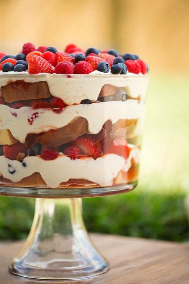 Citrus Berry Trifle - The EASIEST dessert ever! made with layers of lemon flavor whipped cream, poundcake, and lots of berries! #desserts #trifle #berrytrfile | Littlespicejar.com