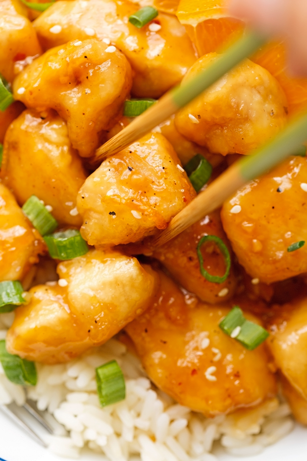 Lighter Orange Chicken - takes just 30 minutes from start to finish and totally healthier than your local take-out! #asianchicken #orangechicken #sweetandsourchicken #chinesefood   Littlespicejar.com