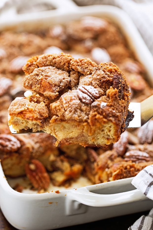 Salted Caramel Banana Nut French Toast Casserole - This recipe is super friendly to make ahead of time and perfect for entertaining brunch guests or for Saturday morning breakfast! #bananafrenchtoast #frenchtoastcasserole #frenchtoast #saltedcaramelsauce | Littlespicejar.com