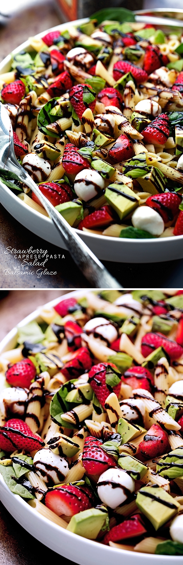Strawberry Caprese Pasta Salad - Made with a homemade balsamic glaze, this salad is to die for! #pastasalad #capresepastasalad #balsamicglaze   Littlespicejar.com