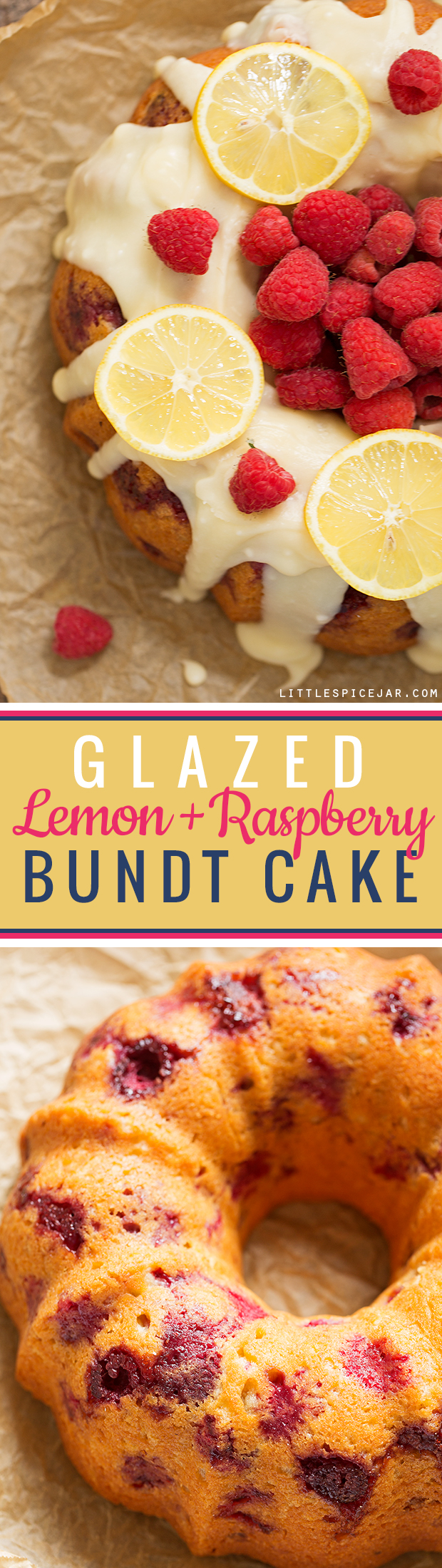 Glazed Lemon Raspberry Bundt Cake - A simple, tender bundt cake with pops of lemon zest and juicy raspberries! #bundtcake #lemonbundtcake #cake #raspberries | Littlespicejar.com