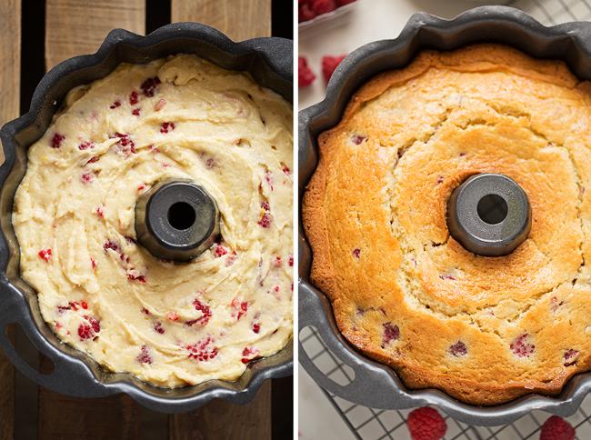 Glazed Lemon Raspberry Bundt Cake - A simple, tender bundt cake with pops of lemon zest and juicy raspberries! #bundtcake #lemonbundtcake #cake #raspberries   Littlespicejar.com
