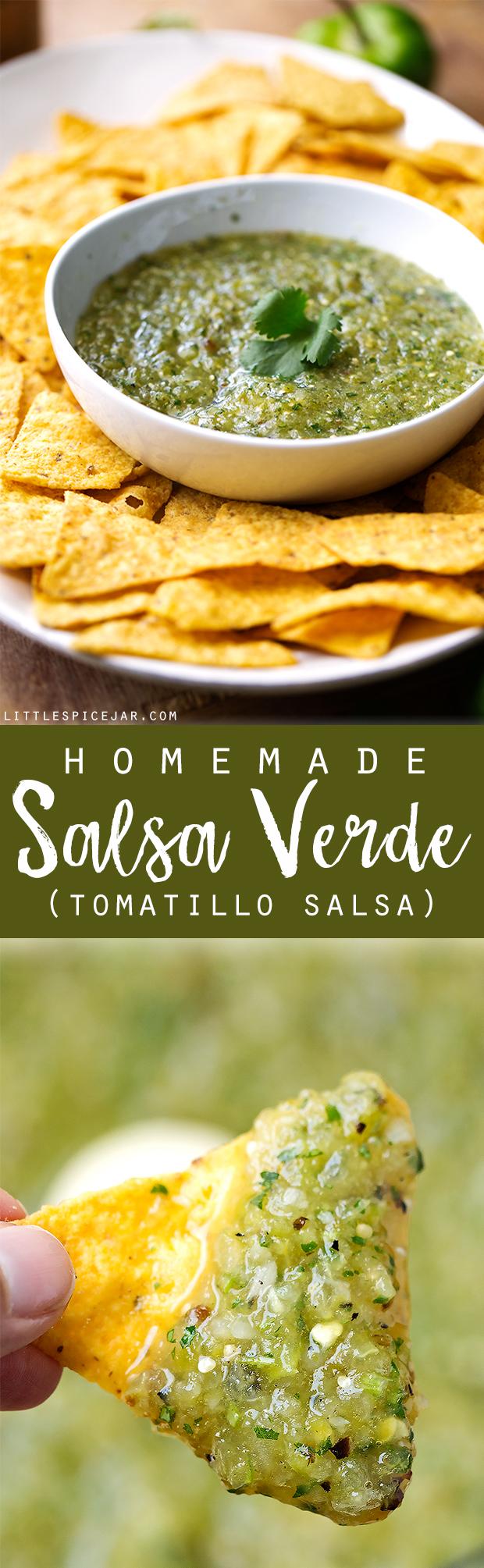 Homemade Salsa Verde (Tomatillo Salsa) - a classic restaurant favorite that's easy to make at home. My salsa verde tastes better than your favorite Mexican Restaurant! #salsa #salsaverde #tomatillosalsa   Littlepsicejar.com