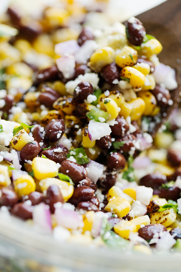 Mexican Street Corn Salad - The perfect summer corn salad with lots of fresh ingredients tossed in a light homemade dressing! #vegetarian #cornsalad #mexicanstreetcorn #streetcornsalad | Littlespicejar.com