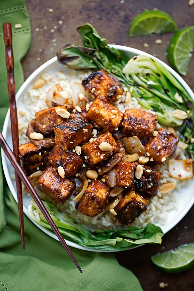 Spicy Peanut Tofu Stir Fry - Loaded with flavor and it's vegetarian/vegan/gluten free friendly! #glutenfree #stirfry #tofustirfry #veggiestirfry   Littlespicejar.com