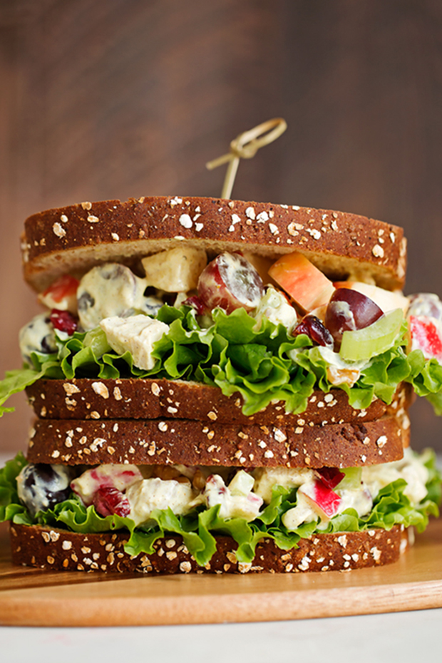 Healthier Chicken Salad Sandwich - a healthier spin on the traditional chicken salad sandwich! My recipe is flavorful so you won't even miss the calories! #chickensalad #chickensaladsandwich #lighterchickensalad #lightchickensalad | LIttlespicejar.com