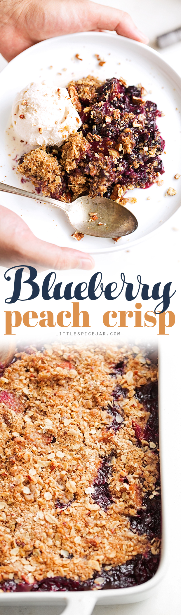 Blueberry Peach Crisp - A super summery dessert topped with a pecan and oat crumble #blueberrycrisp #peachcrisp #blueberrycrumble #peachcrumble | Littlespicejar.com