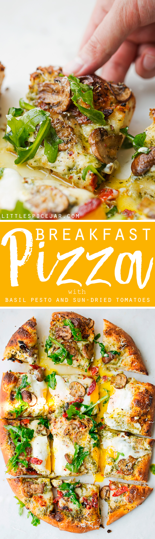Breakfast Pizza with Basil Pesto and Sun-Dried Tomatoes - a simple breakfast pizza that's topped with fresh eggs and it's so good! #breakfast #breakfastpizza #pizza #pizzanight | Littlespicejar.com