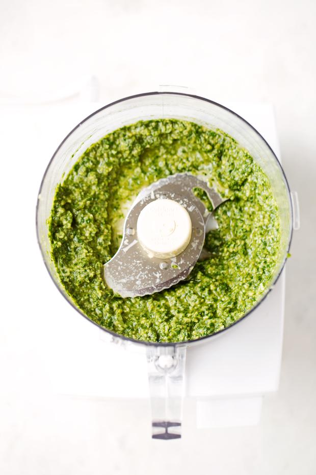 Homemade Basil Pesto - A simple recipe for traditional basil pesto with a secret ingredient that makes it so delicious! #basilpesto #pestogenovese #traditionalpesto   Littlespicejar.com