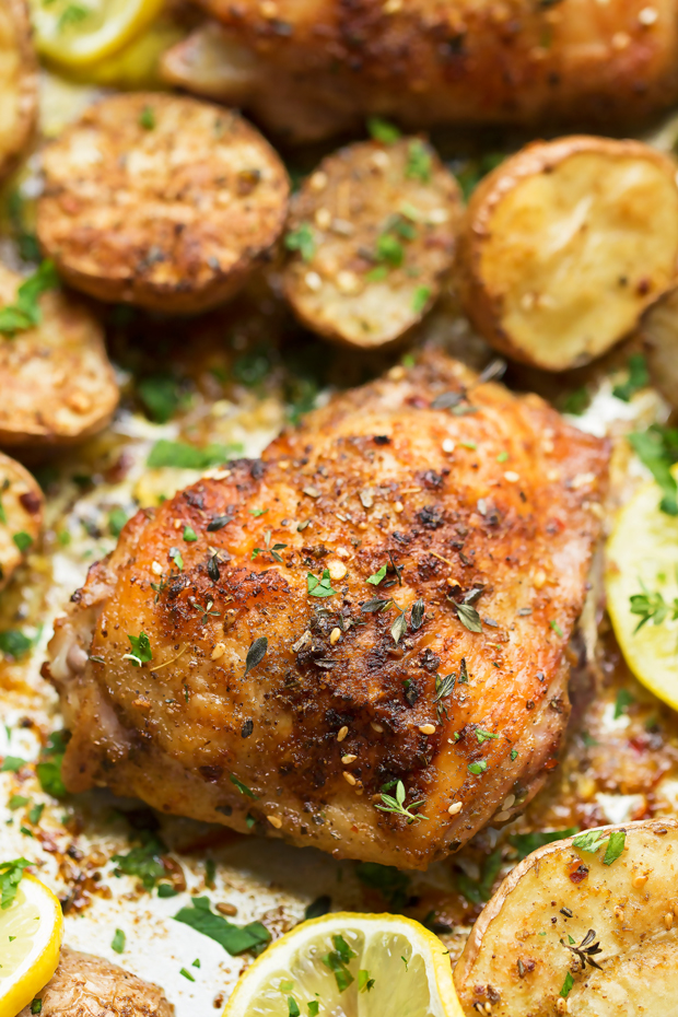 One Sheet Pan Roasted Za'atar Chicken with Potatoes - One sheet pan dinner recipe with roasted za'atar chicken and crispy baby potatoes. This chicken dinner has just 6 simple ingredients and is made in one pot! #roastedchicken #chickenandpotatoes #onesheetpandinner #chickenandveggies   Littlespicejar.com