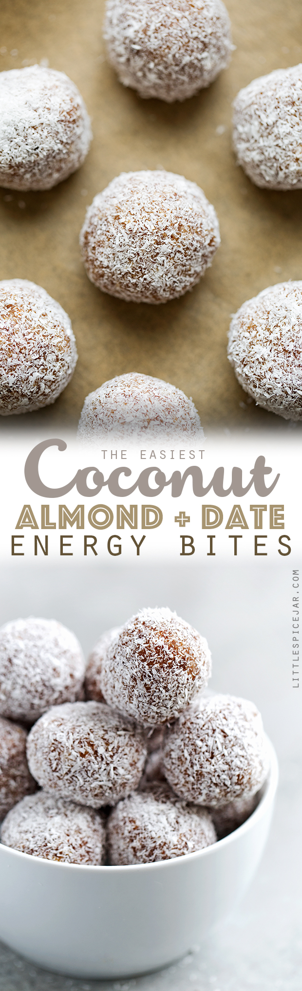 Coconut Almond Energy Bites - These energy bites are made with just 5 simple ingredients. They're crunchy, salty, and sweet and are perfect for a mid-day snack! #energybites #energyballs #refinedsugarfree | Littlespicejar.com