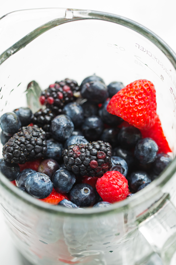 Mixed Berry Agua Frescas - A simple blend of simple syrup, fresh berries, lime juice, and water! The ultimate summer drink! #aguafrescas #berryaguafrescas #summerdrinks | Littlespicejar.com