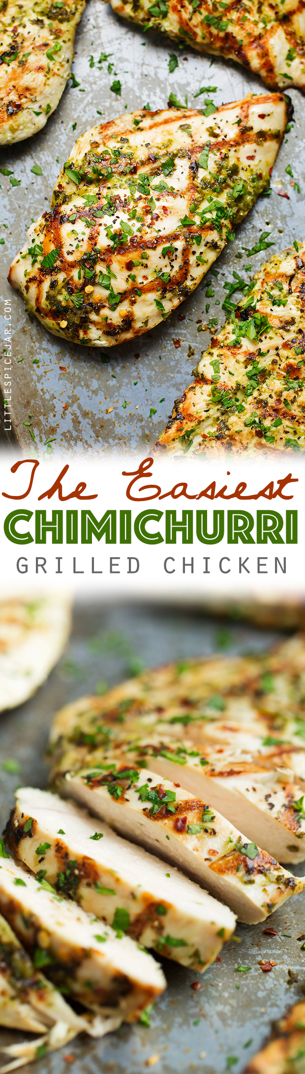 The Easiest Grilled Chimichurri Chicken - Chicken breasts marinated in homemade chimichurri sauce. This takes less than 5 minutes to prep and tastes AMAZING! #chimichurrichicken #grilledchicken #chickendinner | Littlespicejar.com