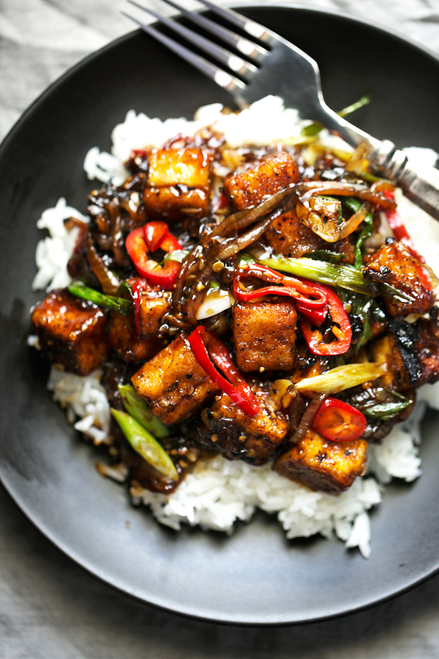 Crispy Black Pepper Tofu Stir Fry Recipe | Little Spice Jar