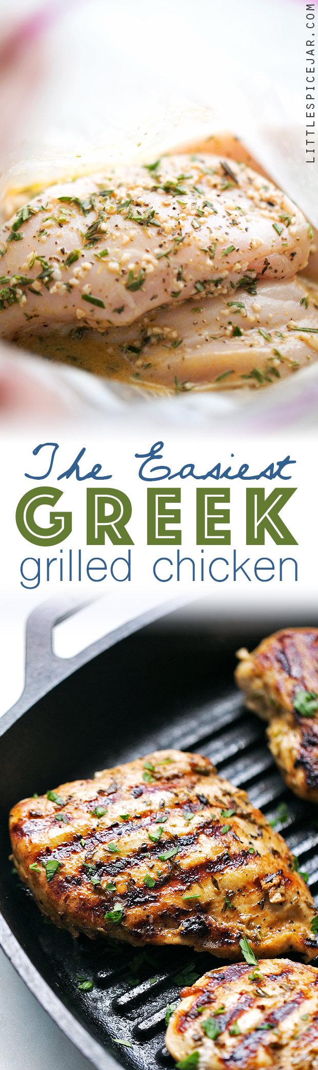The Easiest Greek Grilled Chicken - 10 simple ingredients in this tender and juicy greek marinated chicken! Loaded with protein and perfect for meal prepping! #mealprep #grilledchicken #greekchicken #greekgrilledchicken | Littlespicejar.com