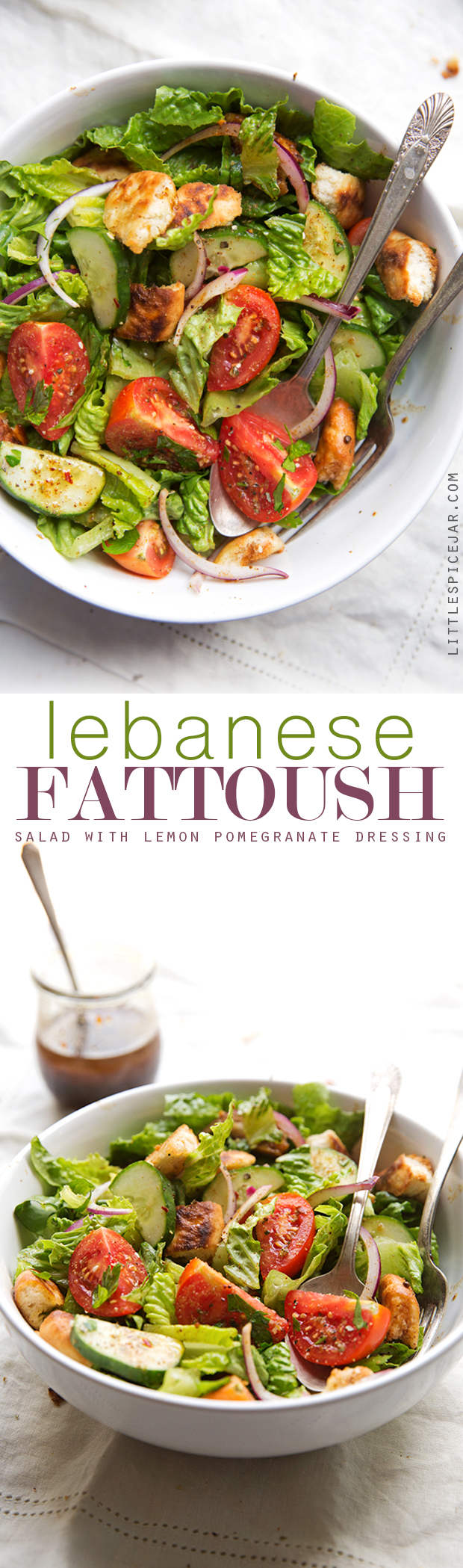 Lebanese Fattoush Salad with Lemon Pomegranate Dressing - This salad is bold and flavorful topped with homemade pita chips and a zippy middle eastern style dressing #fattoush #fattoushsalad #lebanese #salad | Littlespicejar.com