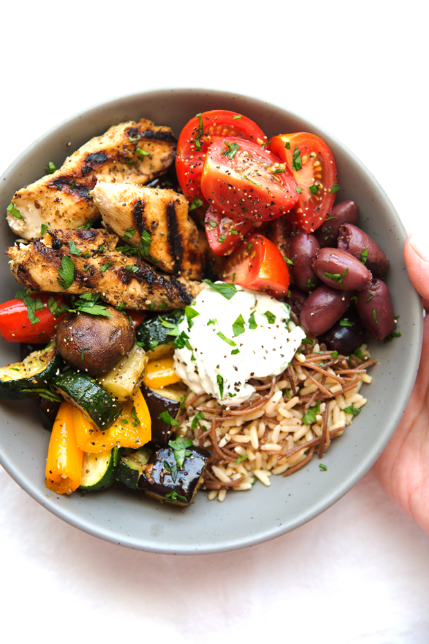 Greek Chicken Souvlaki Bowls With Roasted Veggies Recipe Little
