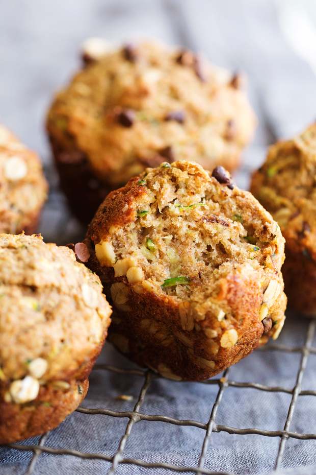 Healthy Zucchini Muffins with Chocolate Chips - These muffins are 175 calories each and loaded with zucchini and chocolate chips. So yummy! #zucchinimuffins #chocolatechipmuffins #healthymuffins #mealprep | Littlespicejar.com