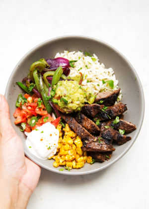Exotic dinner recipes little spice jar steak fajita bowls with garlic lime rice forumfinder Gallery