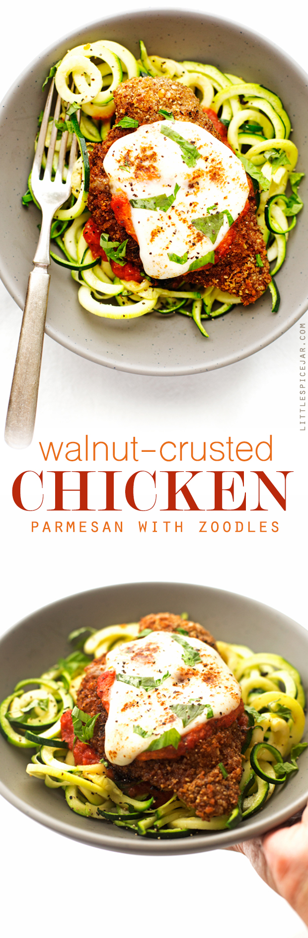 Walnut Crusted Healthy Chicken Parmesan with Zoodles - A healthier take on the chicken parm - we're using walnuts to coat the chicken so it's healthier but still has that crunch! #healthychickenparmesan #walnutcrustedchicken #bakedchicken #chickenparmesan   Littlespicejar.com