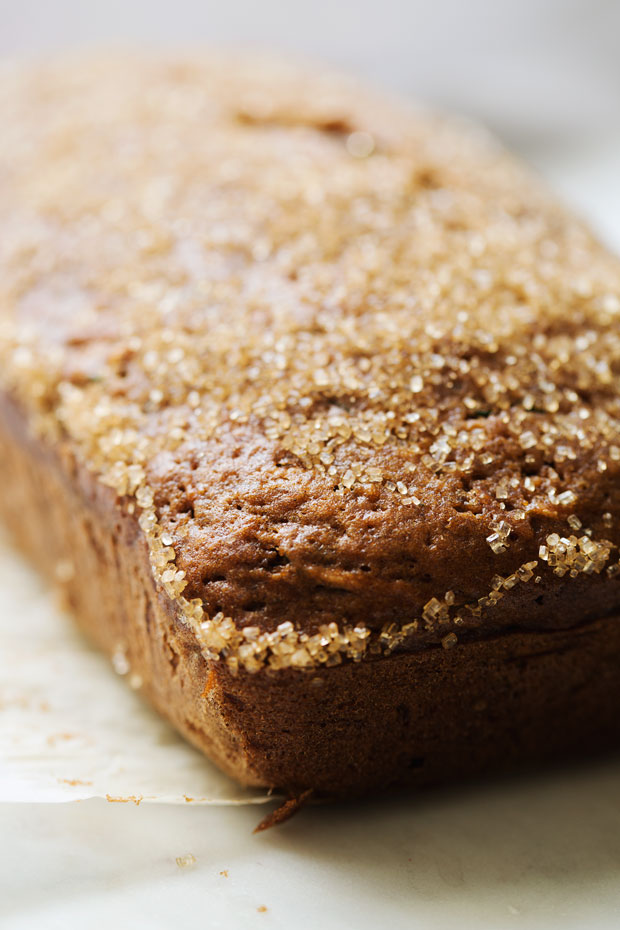 Autumn Spiced Zucchini bread -- made with warm spiced and topped with a crunchy sugar topping. The most delicious loaf you'll make this fall! #zucchinibread #zucchiniloaf #spicedbread   Littlespicejar.com