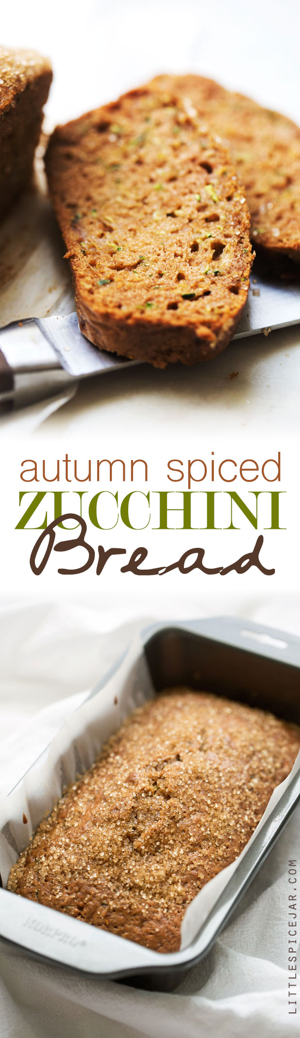 Autumn Spiced Zucchini bread -- made with warm spiced and topped with a crunchy sugar topping. The most delicious loaf you'll make this fall! #zucchinibread #zucchiniloaf #spicedbread | Littlespicejar.com