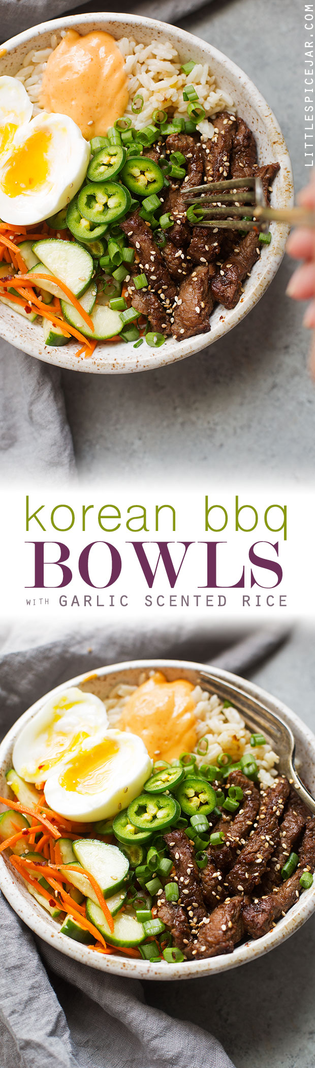 Korean BBQ Bowls with Garlic Scented Rice - Warm, comforting bowls with marinated steak, garlic rice, and a pickled cucumber salad. It's seriously amazing! #koreanbbqbowls #bowls #garlicrice | Littlespicejar.com