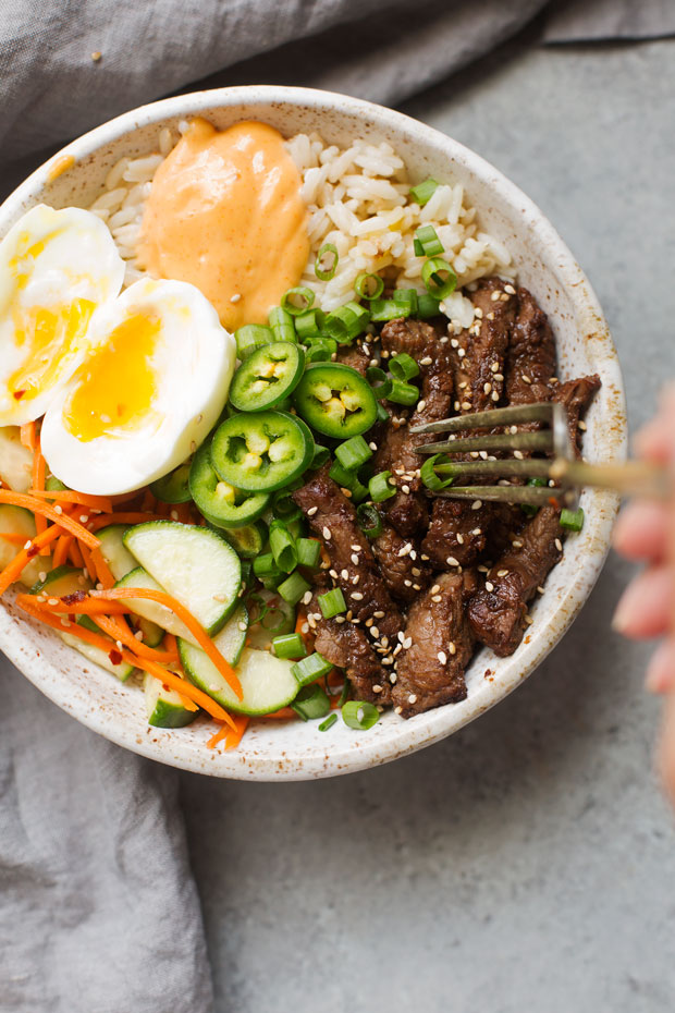 Korean BBQ Bowls with Garlic Scented Rice Recipe | Little ...