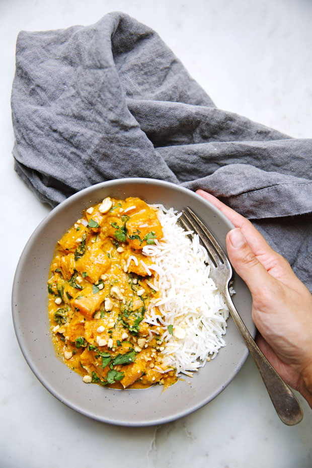 butternut squash red curry in bowls with basmati rice and fork