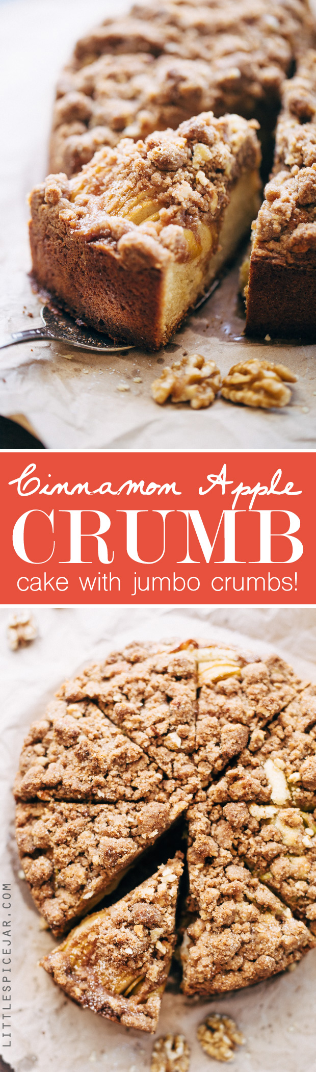Cinnamon Apple Crumb Cake - A simple coffee cake topped with sliced apples and lots of jump lump crumbs. The perfect accompaniment to coffee of a crisp fall morning! #coffeecake #applecrumbcake #crumbcake | Littlespicejar.com