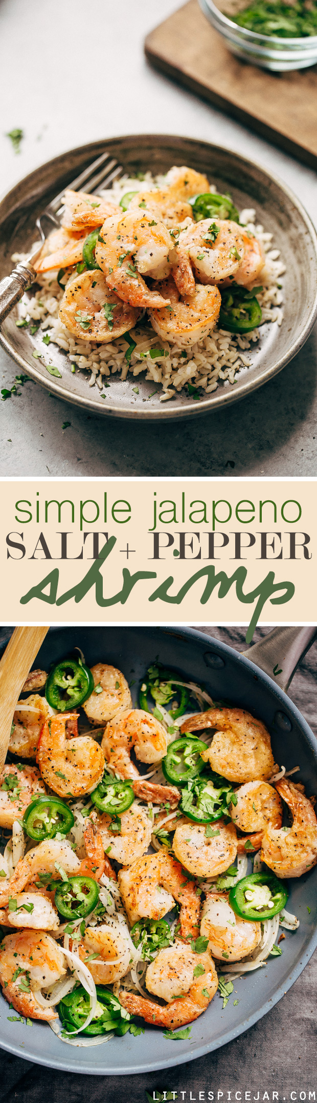 Jalapeno Salt and Pepper Shrimp - a simple 30 minute recipe for tender and sweet shrimp with a little kick! #jalapenoshrimp #sauteedshrimp #shrimp #saltandpeppershrimp | Littlespicejar.com
