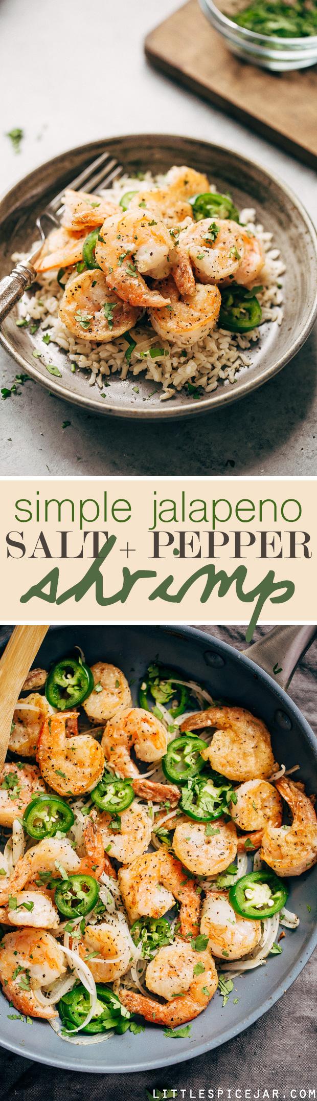 Jalapeno Salt and Pepper Shrimp - a simple 30 minute recipe for tender and sweet shrimp with a little kick! #jalapenoshrimp #sauteedshrimp #shrimp #saltandpeppershrimp | Littlespicejar.com