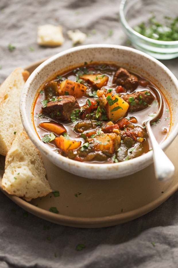 Poblano Beef Stew - a beef stew that's been amped up with roasted ...