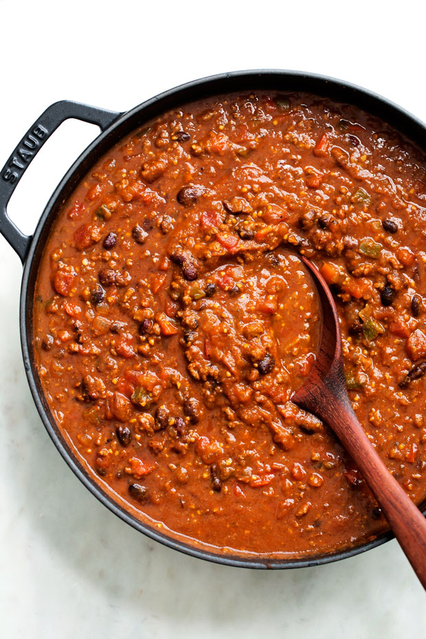 Weekend Pumpkin Chili - a hearty bowl of pumpkin chili that's slow simmered so it's extra comforting! #pumpkinchili #homemadechili #beefchili | Littlespicejar.com