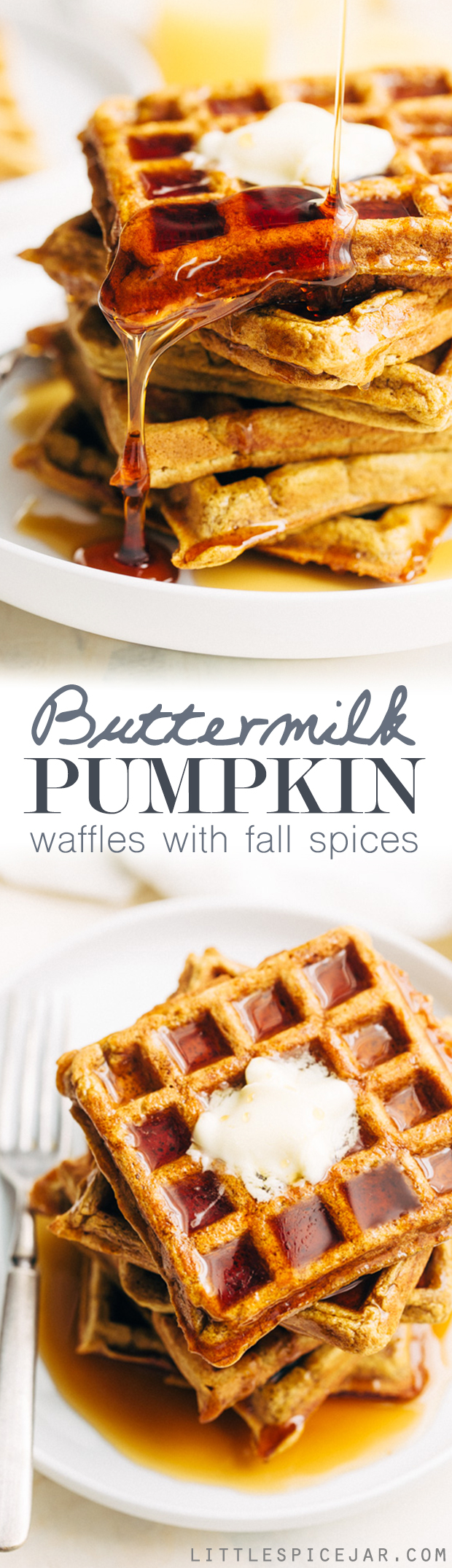 Buttermilk Pumpkin Waffles - The more tender and fluffy waffles that are spiced with fall flavors! Drizzled with maple syrup, they're perfect for fall breakfast! #waffles #pumpkinwaffles #buttermilkwaffles | Littlespicejar.com