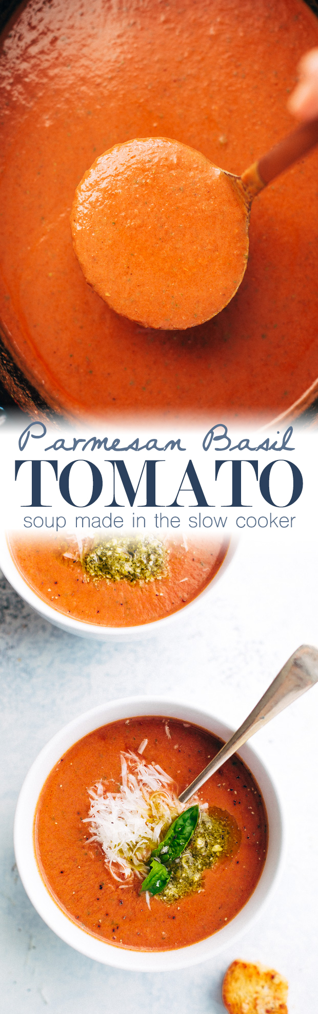 Parmesan Basil Tomato Soup - A cozy tomato soup that's made in the slow cooker and loaded with tons of flavor! #tomatosoup #tomatobasilsoup #slowcooker #crockpot | Littlespicejar.com