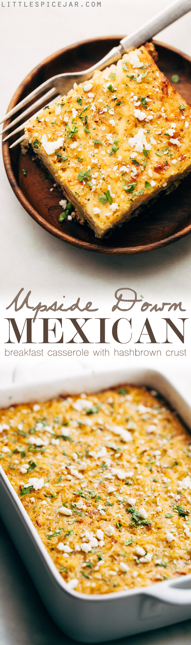 Mexican Breakfast Casserole with Hash Brown Crust - an easy casserole that feeds a crowd! You can even stuff it inside warm tortillas and make breakfast tacos! #breakfastcasserole #mexicanbreakfastcasserole #breakfasttacos | Littlespicejar.com