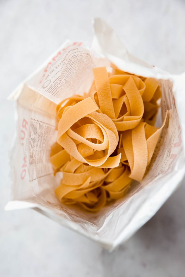 dried pappardelle in bag
